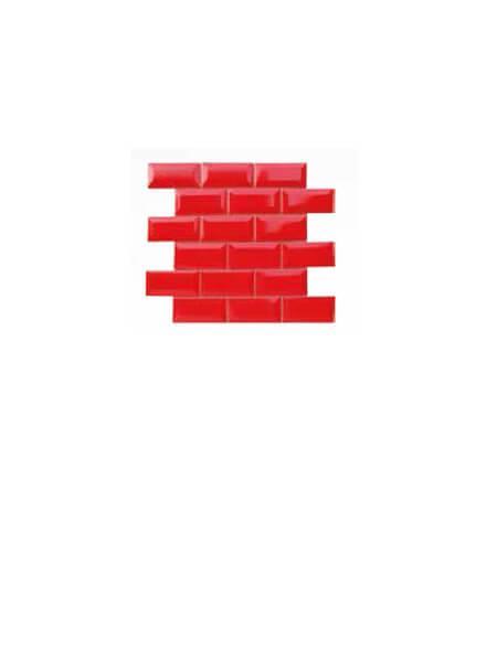 Azulejo tipo metro enmallado rojo brillo 10 x 5cm en mallas.