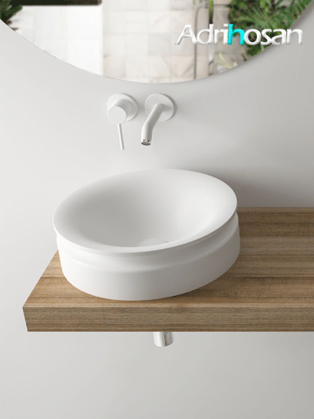 Lavabo Solid Surface redondo diávolo blanco