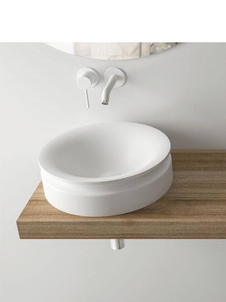Lavabo Solid Surface redondo diávolo blanco
