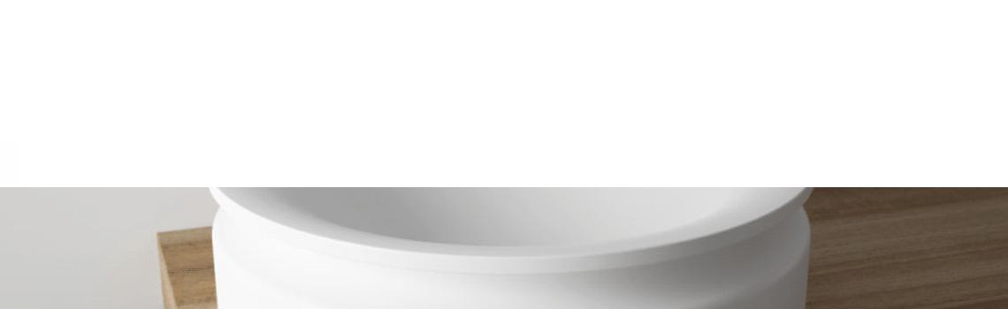 Lavabo Solid Surface redondo diávolo blanco | Adrihosan
