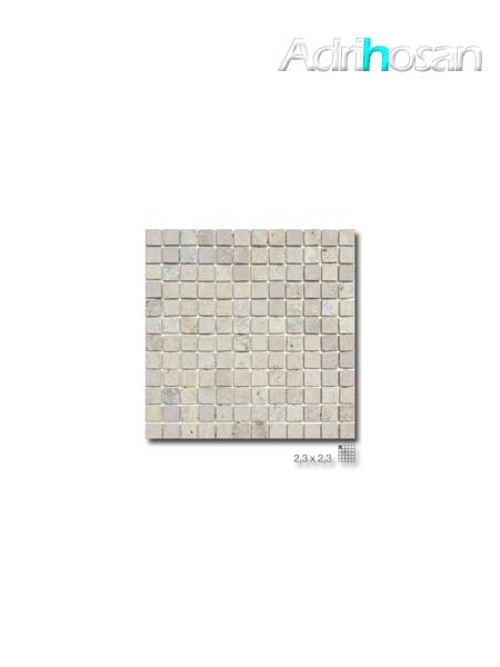 Malla de mármol travertino Ares gris 30x30 cm tesela 2.3 x 2.3 cm(venta por mallas)