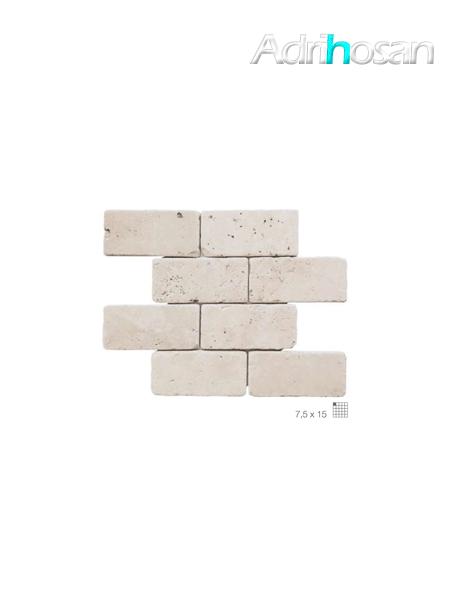 Malla de mármol travertino Pompeya 30x30 cm tesela 7.5 x 15 cm (venta por mallas)