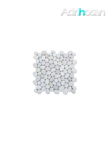 Malla de piedra canto rodado Blanca Rocamar 30x30 cm (venta por mallas)