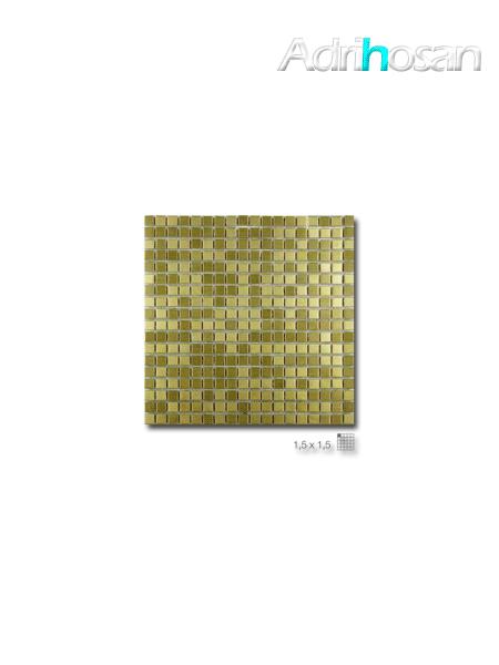 Malla decoración Acero Steel Gold 30 x 30 cm tesela de 1.5 x 1.5 cm (venta por mallas)