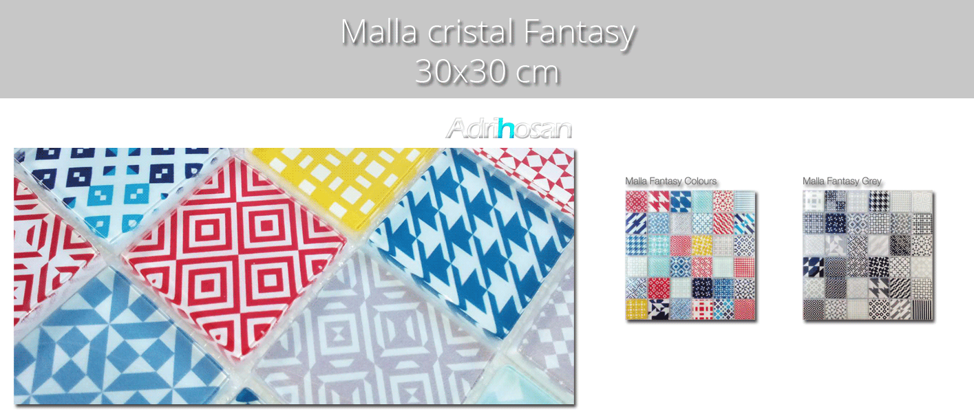 Malla decoración Base cristal Fantasy colors 30 x 30 cm