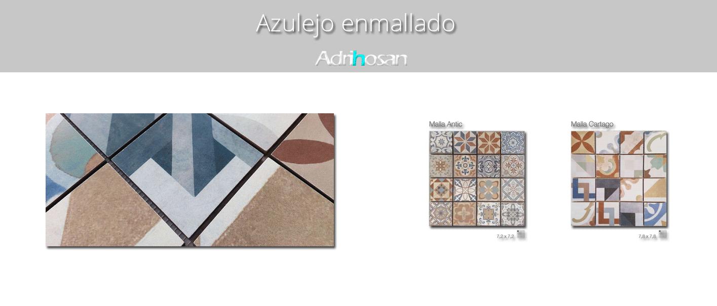 Azulejo porcelánico enmallado Antic 29 x 29 cm tesela de 7.2 x 7,2 cm