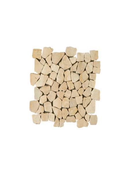 Malla de piedra canto rodado Rocaplana marfil 30x30 cm. Canto rodado aplanado de piedra natural ideal para decoraciones de platos de ducha y exteriores.
