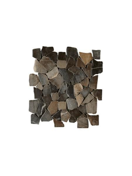 Malla de piedra canto rodado Rocaplana negro 30x30 cm. Canto rodado aplanado de piedra natural ideal para decoraciones de platos de ducha y exteriores.