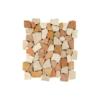 Malla de piedra canto rodado Rocaplana rojo crema 30x30 cm. Canto rodado aplanado de piedra natural ideal para decoraciones de platos de ducha y exteriores.