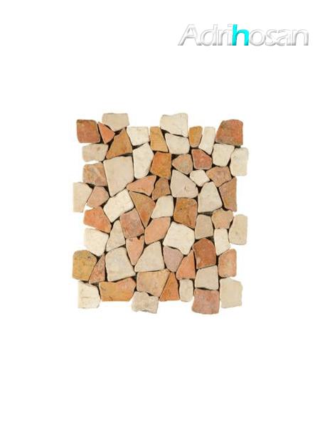 Malla de piedra canto rodado Rocaplana rojo crema 30x30 cm (venta por mallas)