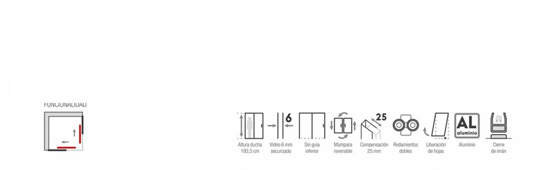 Mampara apertura al vértice Africa 2 fijos y dos correderas aluminio brillo | Adrihosan