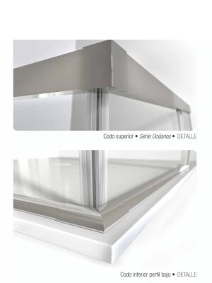 Mampara apertura al vértice Indico 2 fijos y dos correderas aluminio brillo | Adrihosan