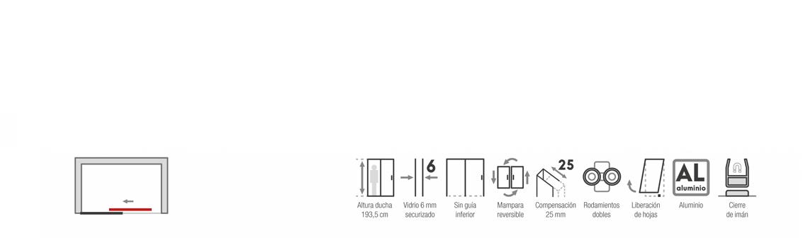 vMampara corredera cristal transparente Asia con antical 100 a 180 cm | Adrihosan
