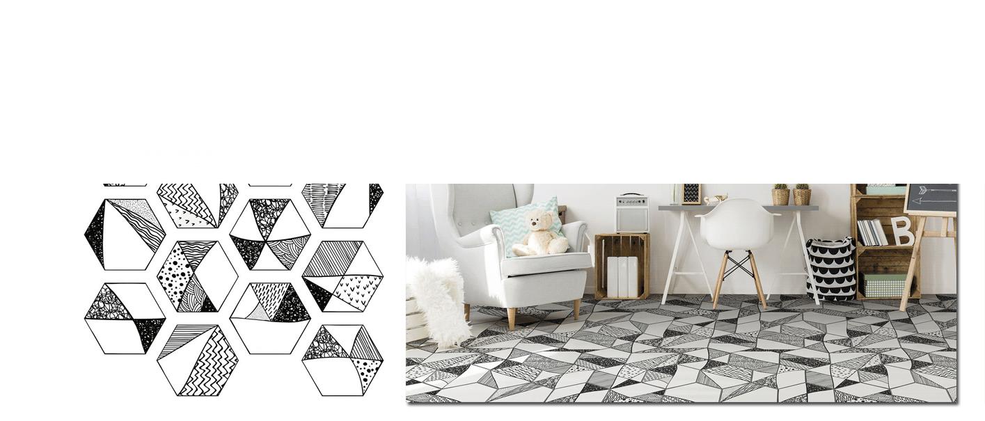 Azulejo hexagonal decorado porcelánico Comic 23x27 cm