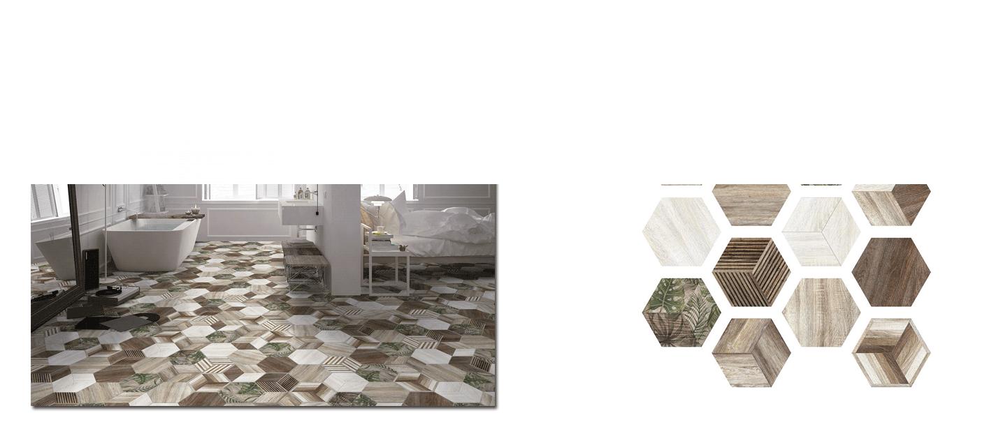 Azulejo hexagonal decorado porcelánico Africa 23x27 cm