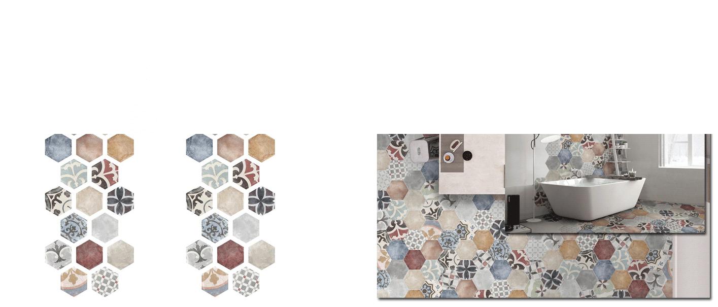 Azulejo hexagonal decorado porcelánico Marrakech 23x27 cm