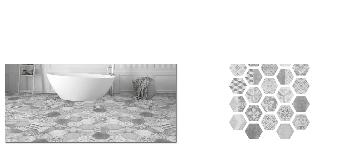 Azulejo hexagonal decorado porcelánico Nuuk 23x27 cm