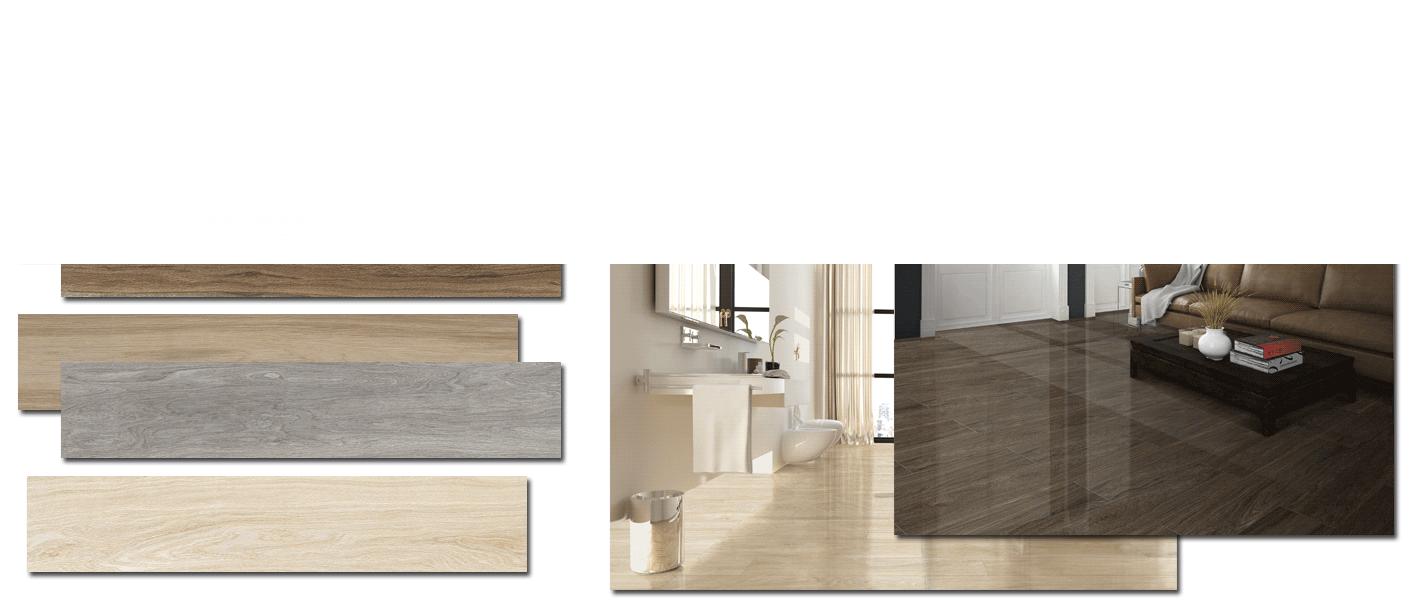 Pavimento porcelánico alto brillo Sabana white 15x90 cm imitación madera