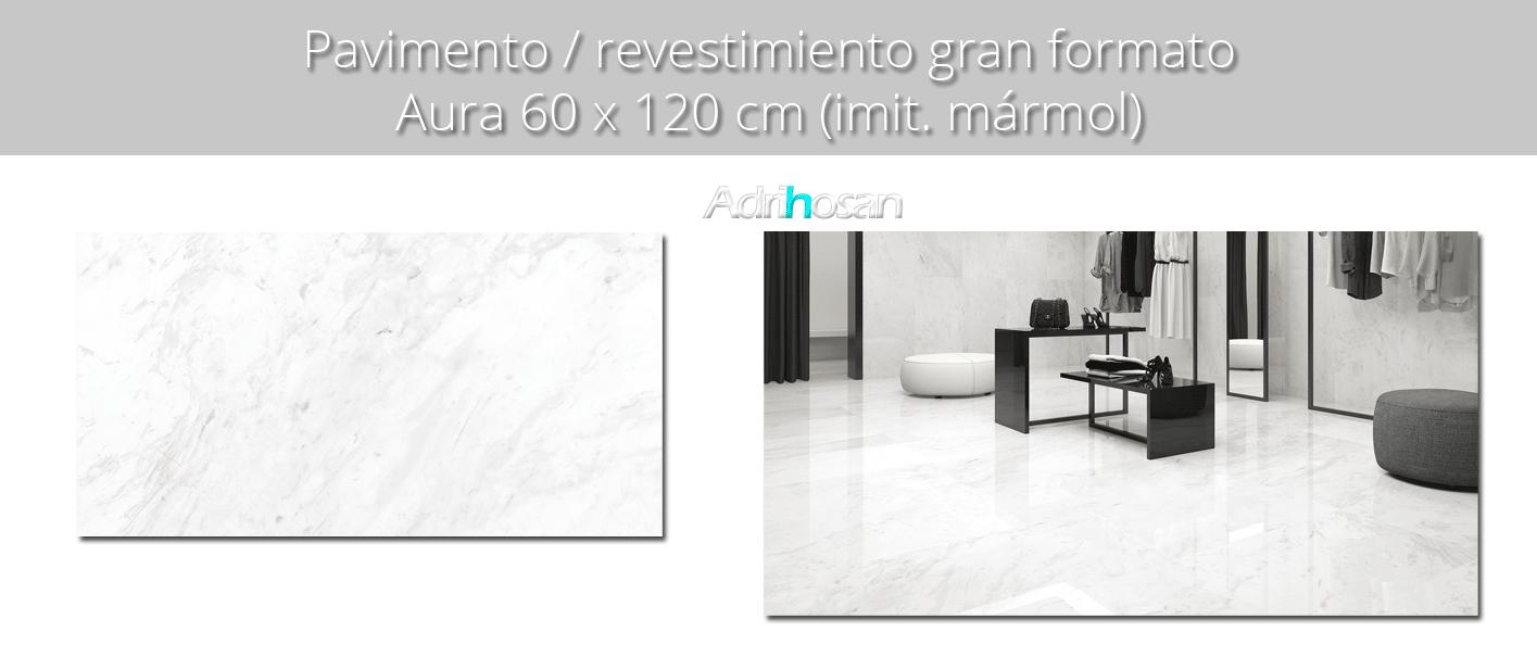 Pavimento porcelánico rectificado Aura brillo 60 x 120 cm