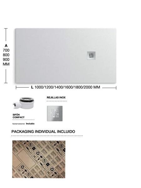 Plato de ducha adrihosan extraplano blanco textura pizarra - Suelo ducha pizarra ...
