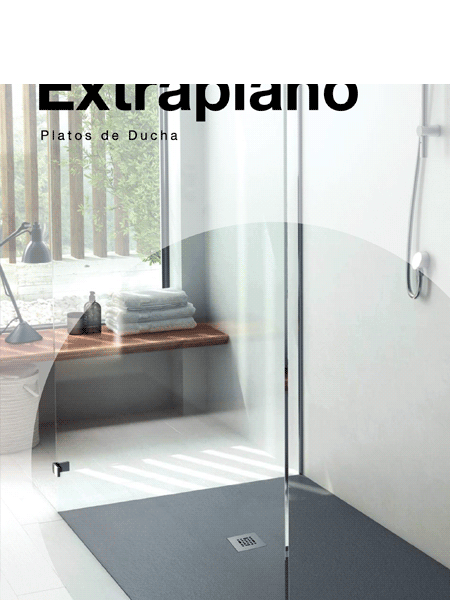 Plato de ducha fiora extraplano blanco textura pizarra - Suelo ducha pizarra ...