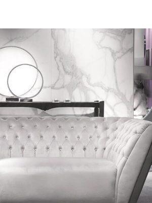 Techlam® Kalos bianco 5mm de espesor 1500x1000 cm. El deslumbrante blanco de Techlam Kalos Bianco sirve para el despliegue lúdico de sus vetas grises.