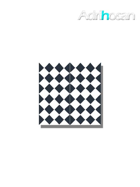 Baldosa hidráulica Chess 20x20x1.5 cm de cemento pigmentado.