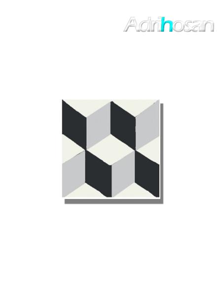 Baldosa hidráulica Güell 20x20x1.5 cm de cemento pigmentado.