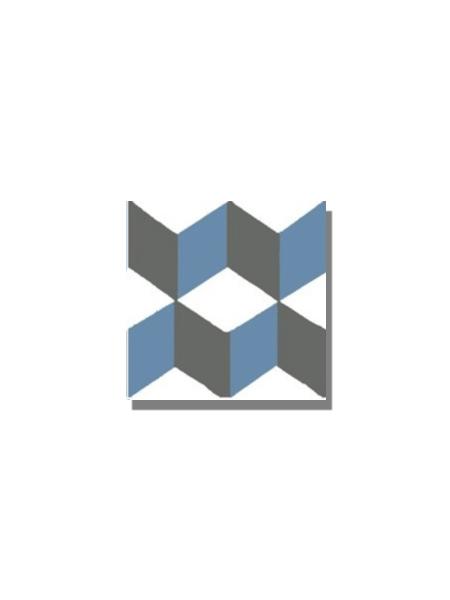 Baldosa hidráulica Güell azul 20x20x1.5 cm de cemento pigmentado.Labaldosa hidráulicadecorativa se puede utilizar tanto en interior como en exterior.
