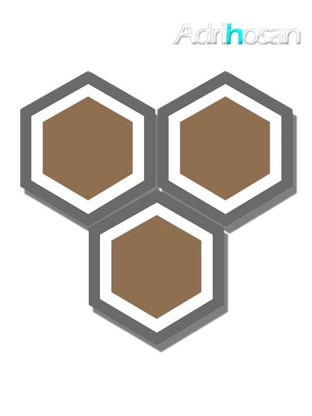 Baldosa hidráulica Hexagonal Grass 23x20x1.5 cm de cemento pigmentado.