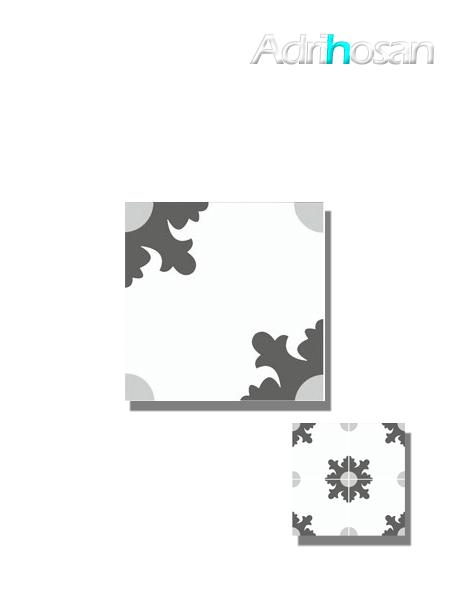 Baldosa hidráulica Morera 20x20x1.5 cm de cemento pigmentado.