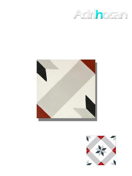 Baldosa hidráulica Palau gris 20x20x1.5 cm de cemento pigmentado.