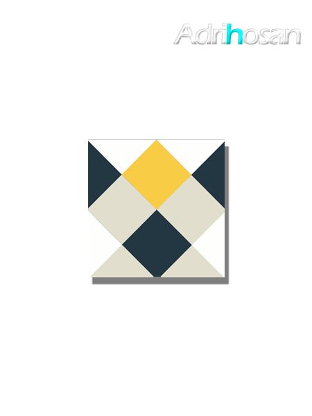 Baldosa hidráulica Rotjen 20x20x1.5 cm de cemento pigmentado.
