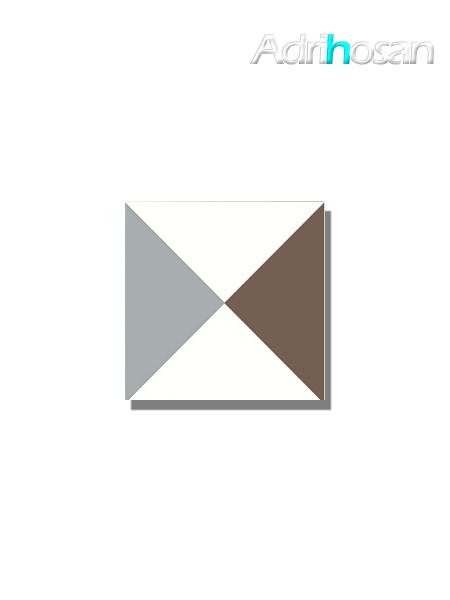 Baldosa hidráulica Roura 20x20x1.5 cm de cemento pigmentado.