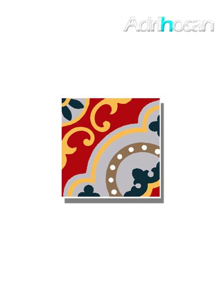 Baldosa hidráulica Tasel 20x20x1.5 cm de cemento pigmentado.