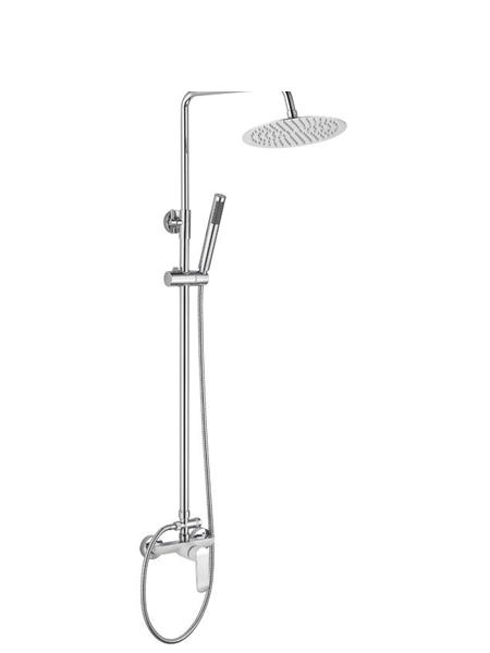 Columna de ducha monomando Abidos cromada. Sugerente y atractivo conjunto de ducha monomando con 3 acabados: cromo brillo, cromo y blanco o cromo y negro