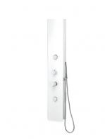 Columna de ducha monomando Quena blanco cristal. Perfecta combinación entre cristal Securit y alumino blanco que generan una sensación de limpieza.