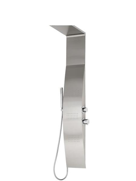 Columna de ducha monomando Sais cromada. Moderno panel de ducha de hidromasaje realizado en Acero Inoxidable con acabado anti-huellas.