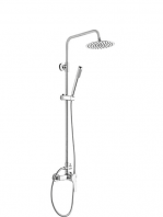 Columna de ducha monomando Tebas cromada. Efectivo y funcional set de ducha monomando con maneta central y acabado en cromo brillo.