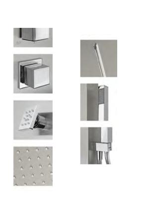Columna de ducha progresiva Esna cromada con cascada. Elegante y estilizada columna de baño con cubierta de Acero Inox 304 y acabado anti-huellas.