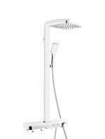 Columna de ducha termostática Cleopatra blanca con repisa. Una columna de ducha lista para instalar con una bonita repisa para depositar los jabones.