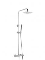 Columna de ducha termostática cromada Guiza. Minimalista conjunto ducha termostático, de formas cilíndricas, sin casi relieves y acabado cromo brillo.