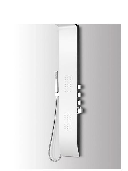 Columna de ducha monomando Menia blanca. Actual panel de ducha de hidromasaje para sentir la sensación de la relajante lluvia.