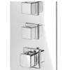 Distribuidor empotrado termostático de ducha 2 vías independientes. Esta grifería empotrada permite accionar las dos salidas a la vez para gran relajación.