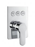Mezclador empotrado Monomando con desviador 3 salidas Karnak. Seleccione con un click la salida deseada, rociador superior o mango de ducha o jets.