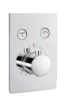 Mezclador empotrado termostático con desviador 2 salidas Nairobi. Seleccione con un click la salida deseada, rociador superior o mango de ducha.