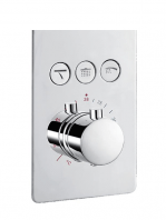 Mezclador empotrado termostático con desviador 3 salidas Nairobi. Seleccione un click la salida deseada, cascada, rociador superior o mango de ducha.