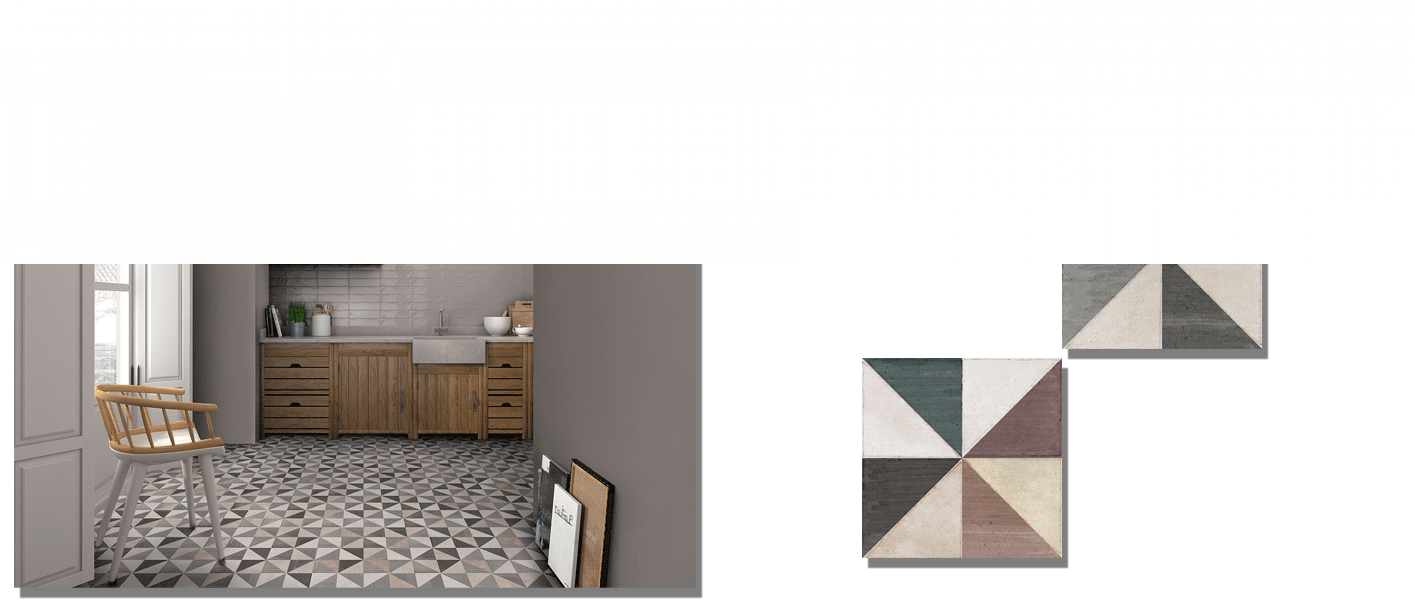 Pavimento porcelánico Diamond Graphite matt 20 x 20 cm. Un azulejo de pequeño formato para suelos y paredes con un divertido diseño geométrico desgastado.