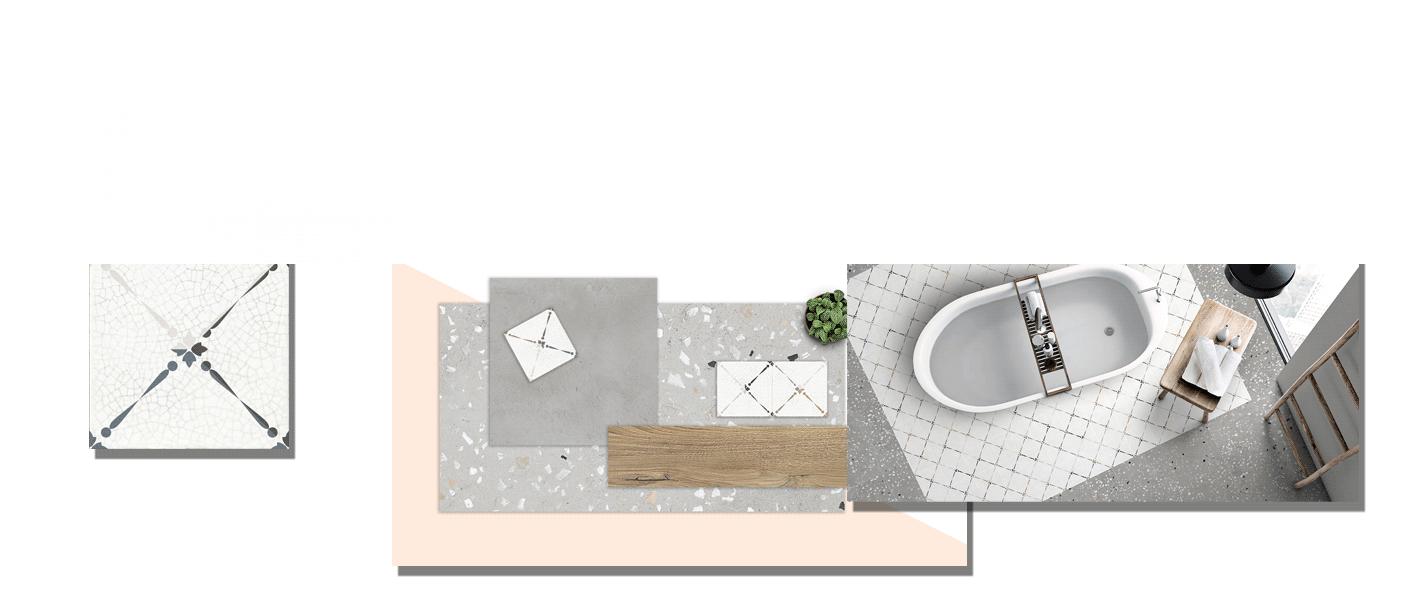 Pavimento porcelánico Lily craquelado 20 x 20 cm. Un azulejo de pequeño formato para suelos y paredes con un divertido diseño de flor antigua.