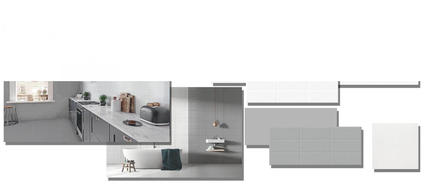 Revestimiento Amelie White 25x60 cm brillo 25 x 60 cm. Una serie de azulejos para paredes de colores neutros para cualquier diseño de tu cocina o baño.